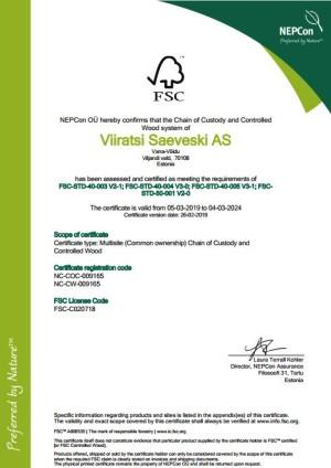 FSC®(FSC-C020718) sertifikaat