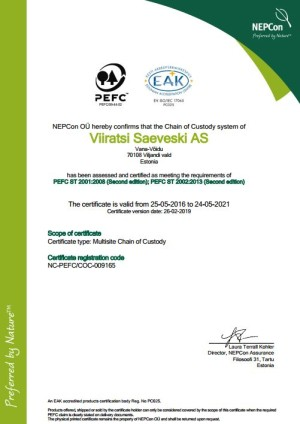 PEFC ®(PEFC/19-31-21) sertifikaat