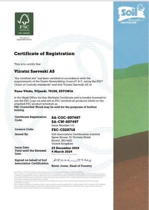 FSC®(FSC-C020718) certificate